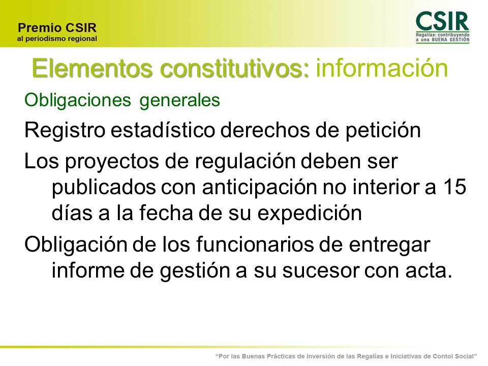 Elementos constitutivos: información