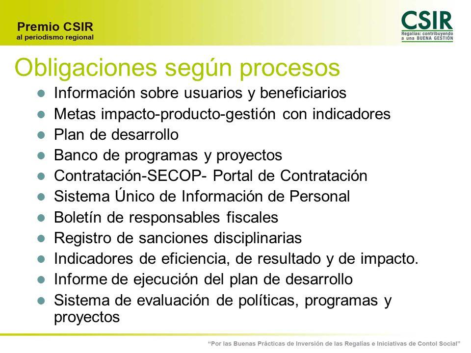 Obligaciones según procesos