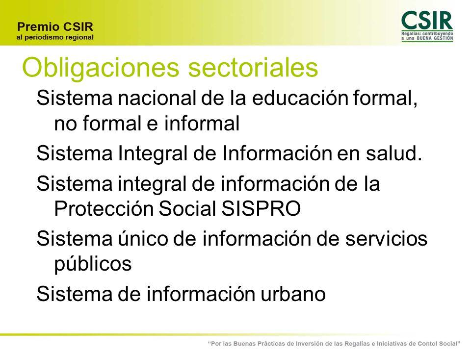 Obligaciones sectoriales