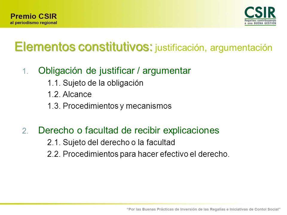 Elementos constitutivos: justificación, argumentación