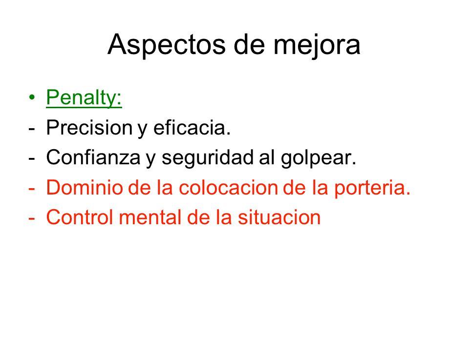 Aspectos de mejora Penalty: Precision y eficacia.