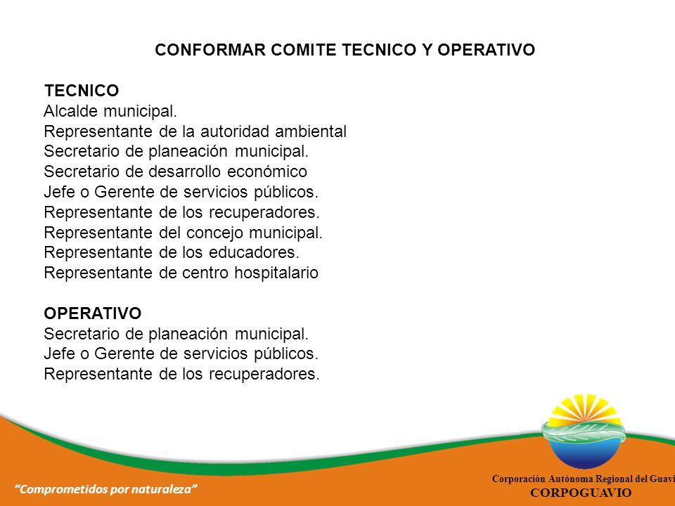 CONFORMAR COMITE TECNICO Y OPERATIVO Comprometidos por naturaleza