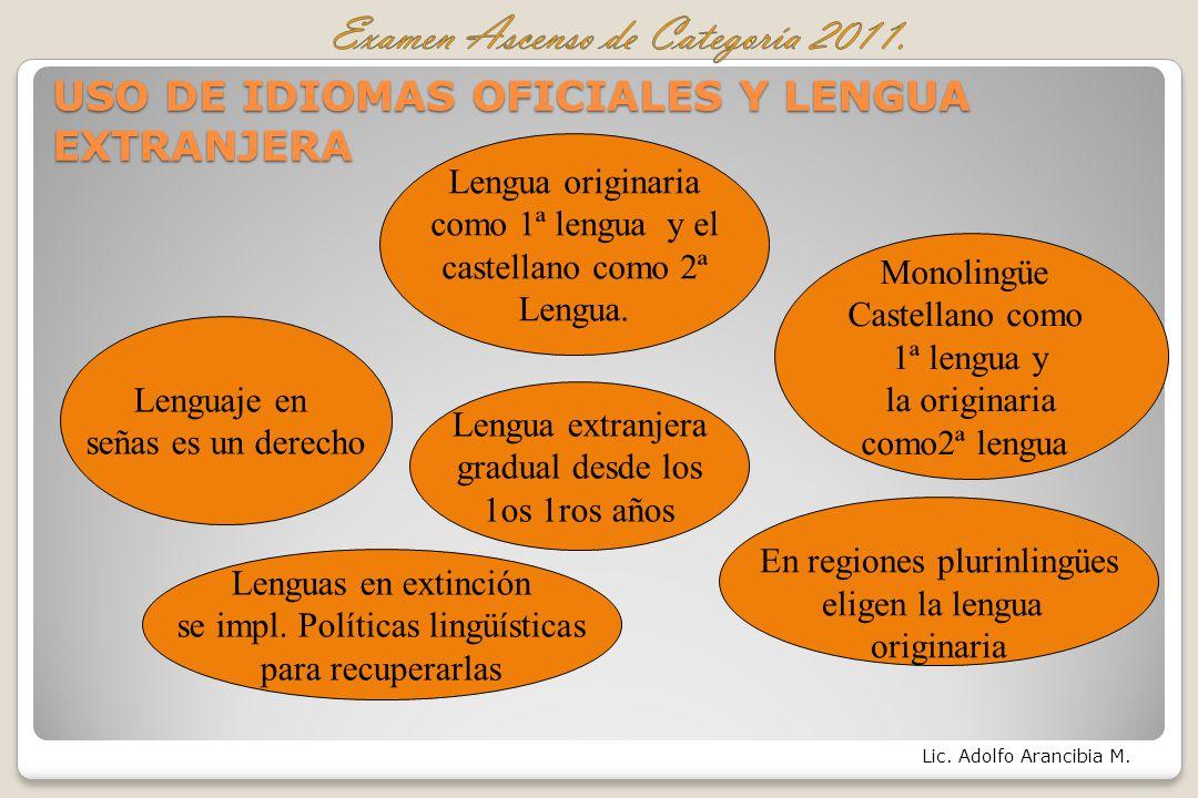 USO DE IDIOMAS OFICIALES Y LENGUA EXTRANJERA