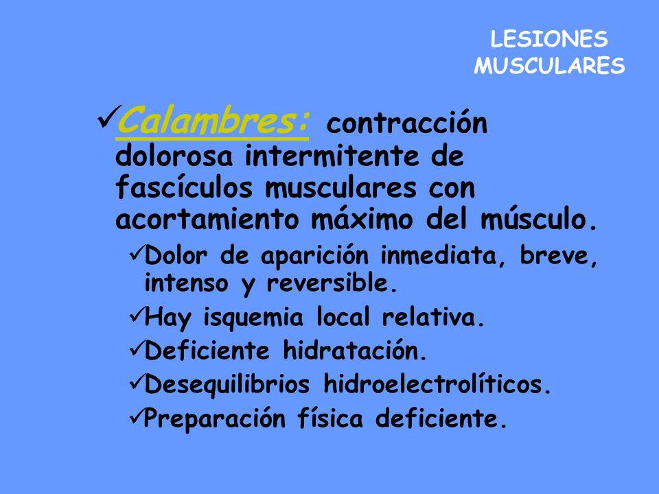 LESIONES MUSCULARESCalambres: contracción dolorosa intermitente de fascículos musculares con acortamiento máximo del músculo.