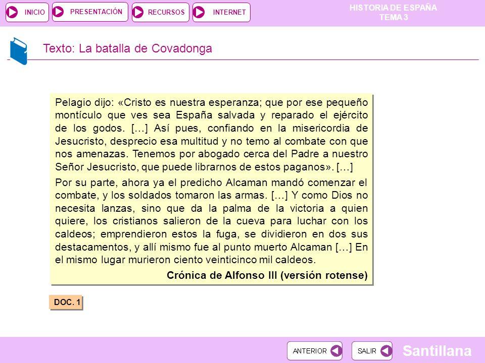 Texto: La batalla de Covadonga