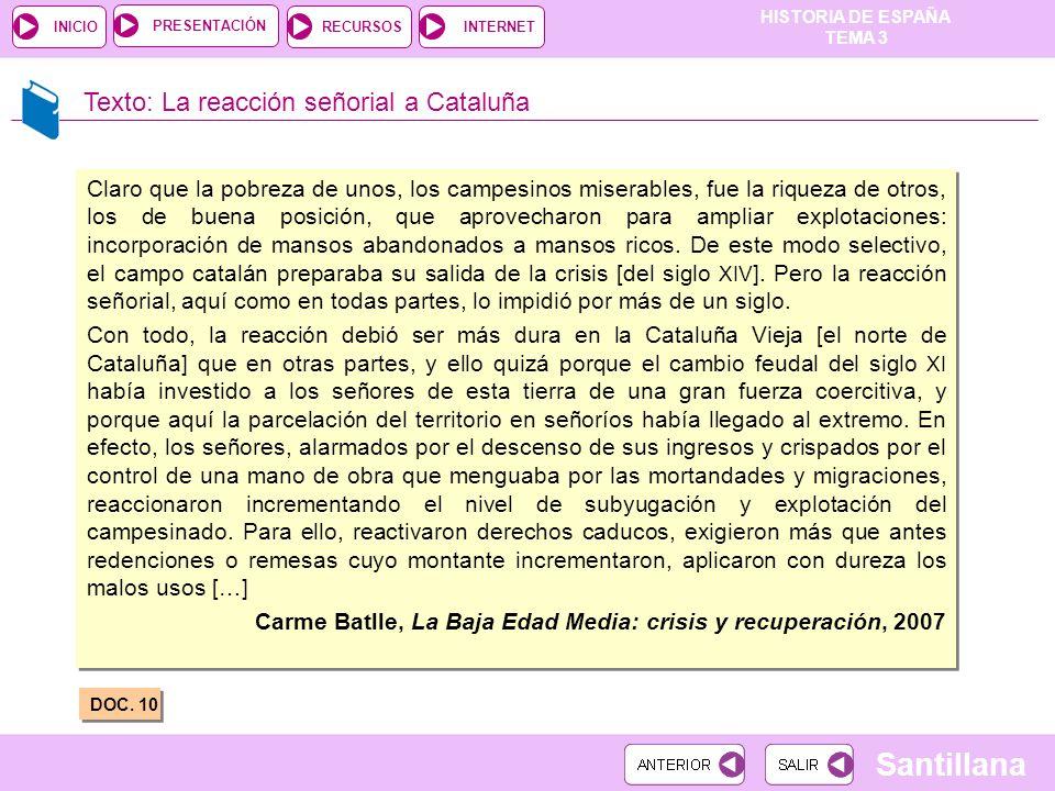 Texto: La reacción señorial a Cataluña