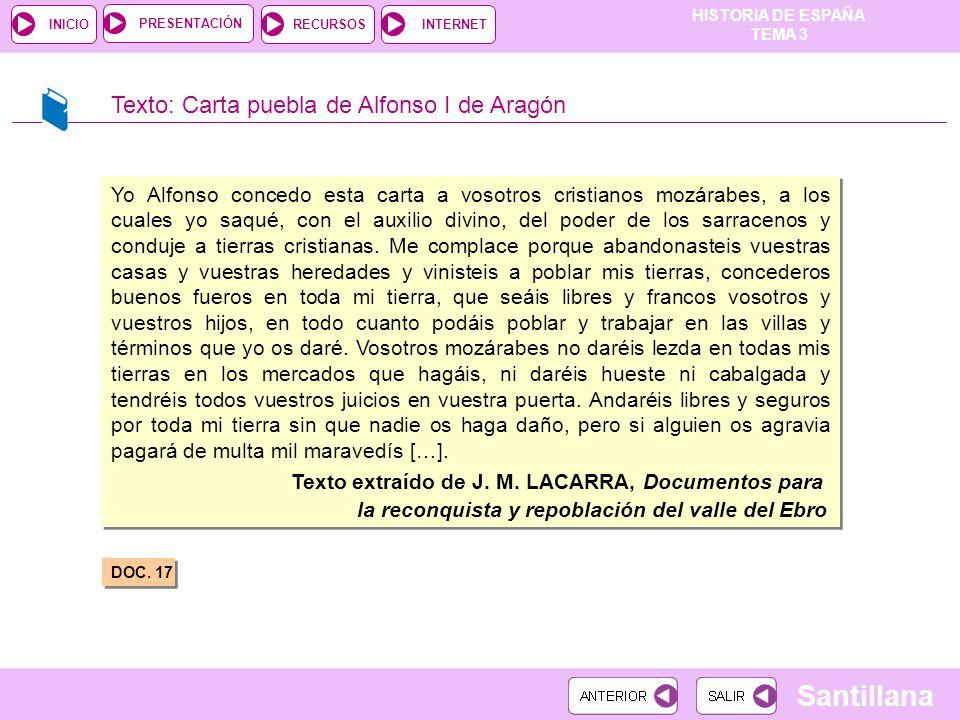 Texto: Carta puebla de Alfonso I de Aragón