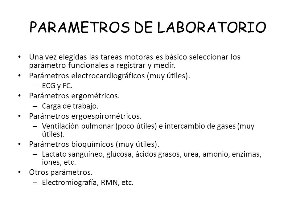 PARAMETROS DE LABORATORIO