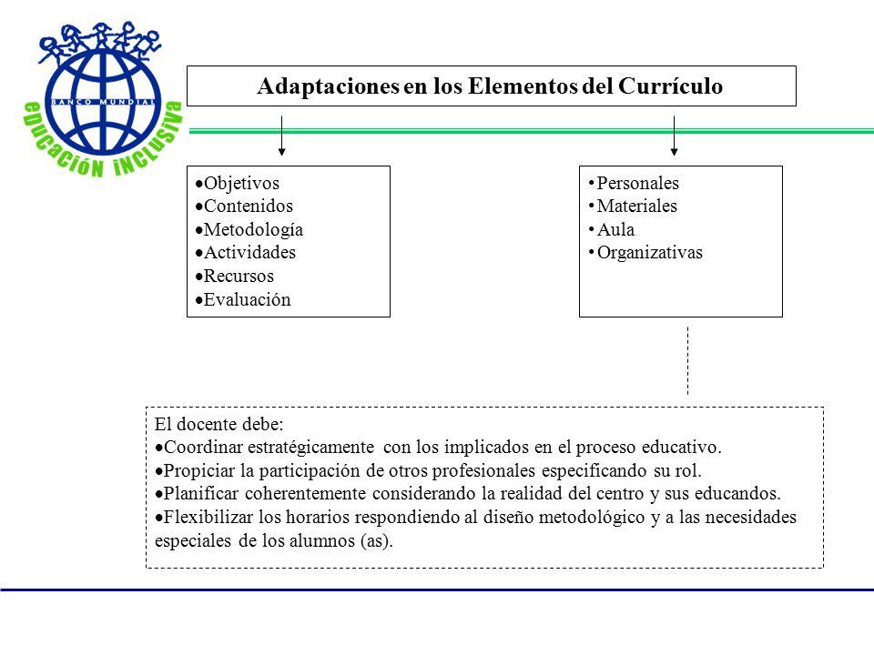 Adaptaciones en los Elementos del Currículo
