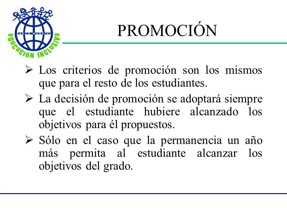 PROMOCIÓN Los criterios de promoción son los mismos que para el resto de los estudiantes.