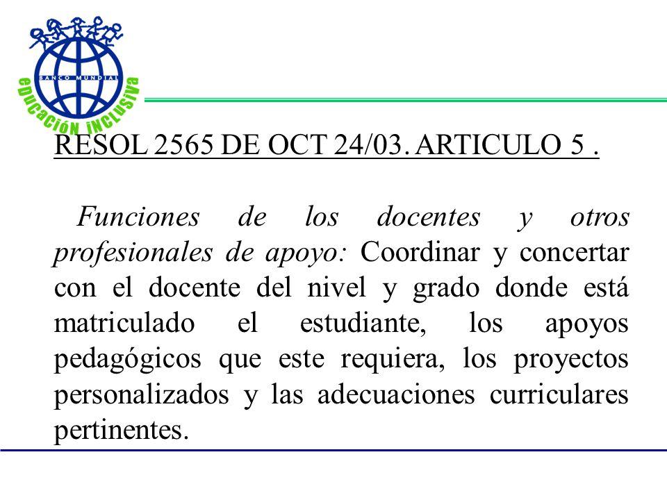 RESOL 2565 DE OCT 24/03. ARTICULO 5 .