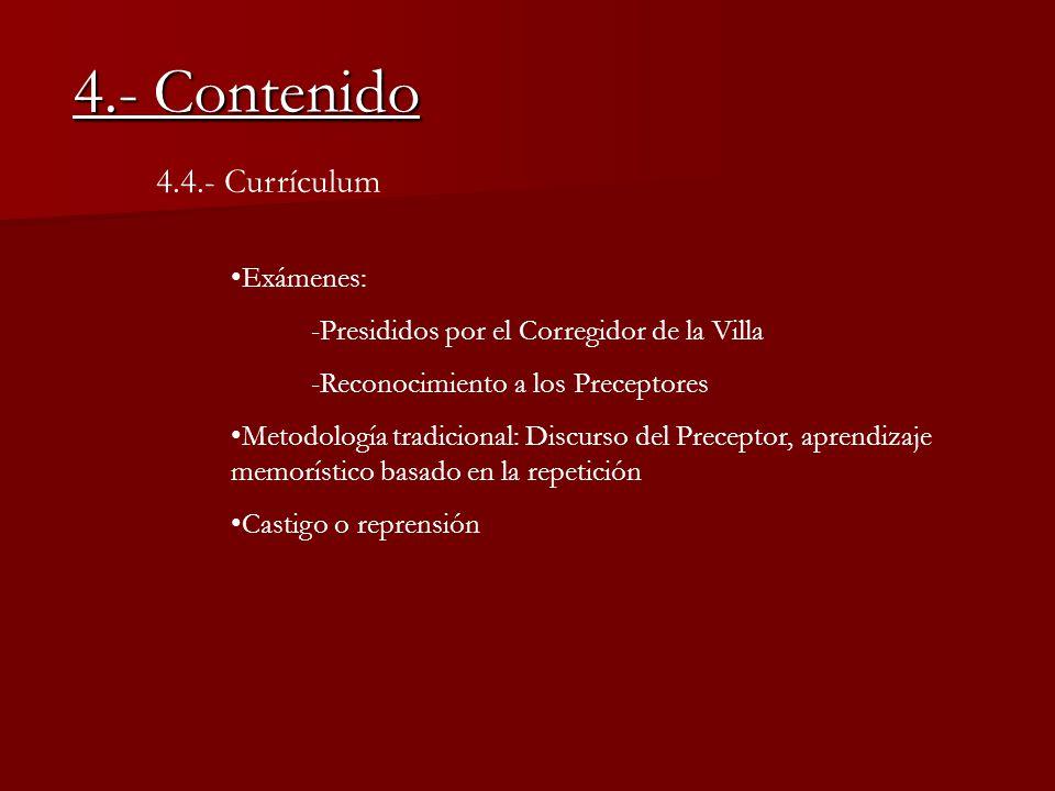 4.- Contenido 4.4.- Currículum Exámenes: