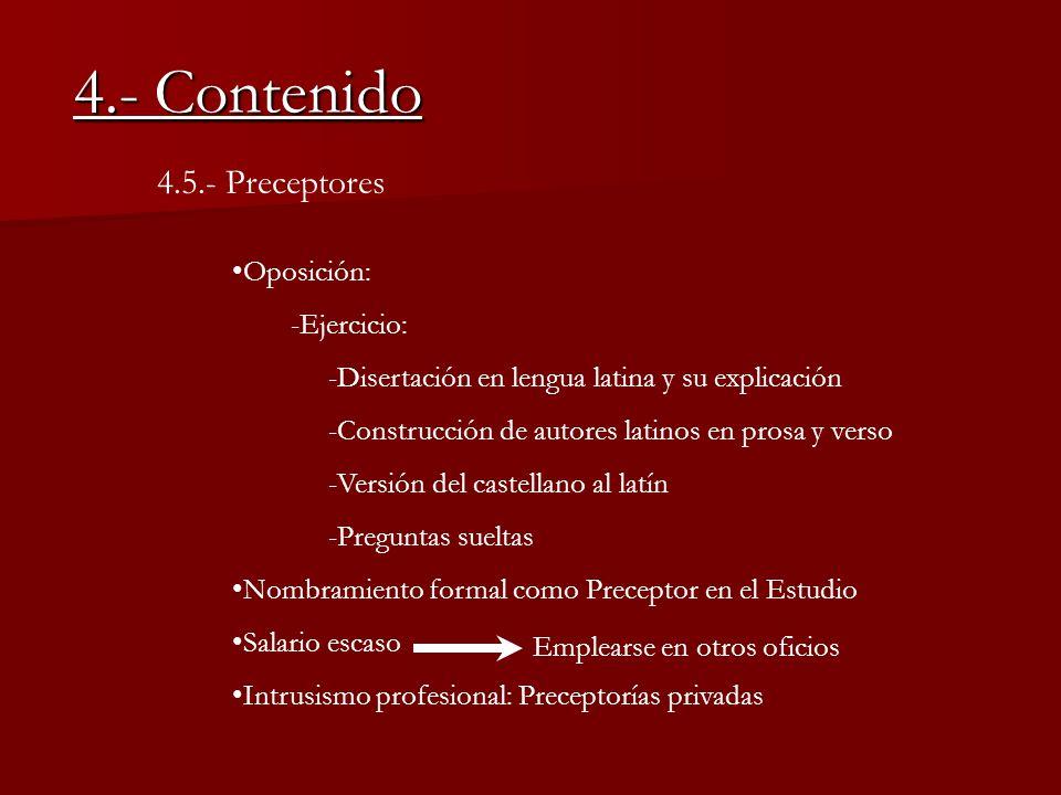 4.- Contenido 4.5.- Preceptores Oposición: -Ejercicio: