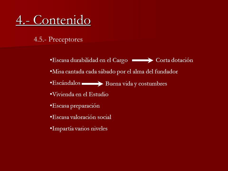 4.- Contenido 4.5.- Preceptores Escasa durabilidad en el Cargo