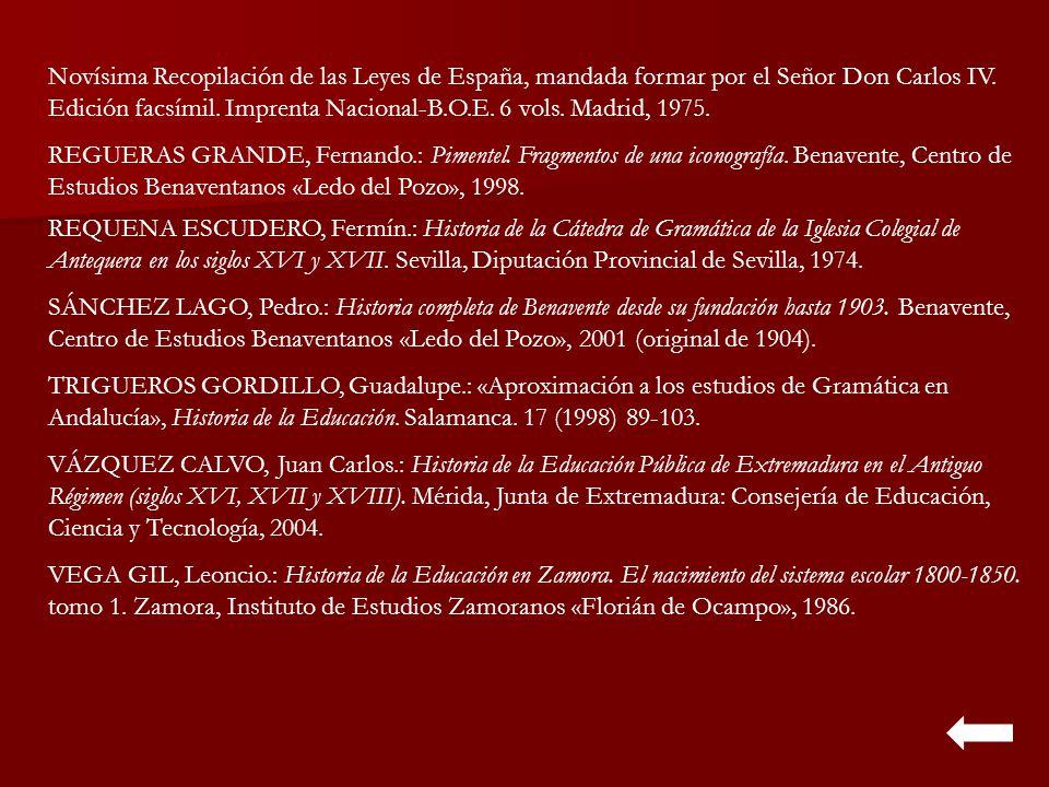 Novísima Recopilación de las Leyes de España, mandada formar por el Señor Don Carlos IV. Edición facsímil. Imprenta Nacional-B.O.E. 6 vols. Madrid, 1975.