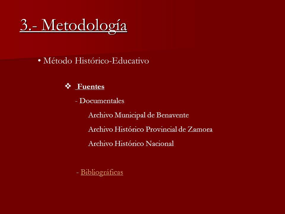 3.- Metodología Método Histórico-Educativo Fuentes