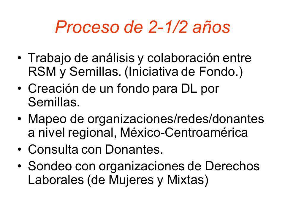 Proceso de 2-1/2 años Trabajo de análisis y colaboración entre RSM y Semillas. (Iniciativa de Fondo.)