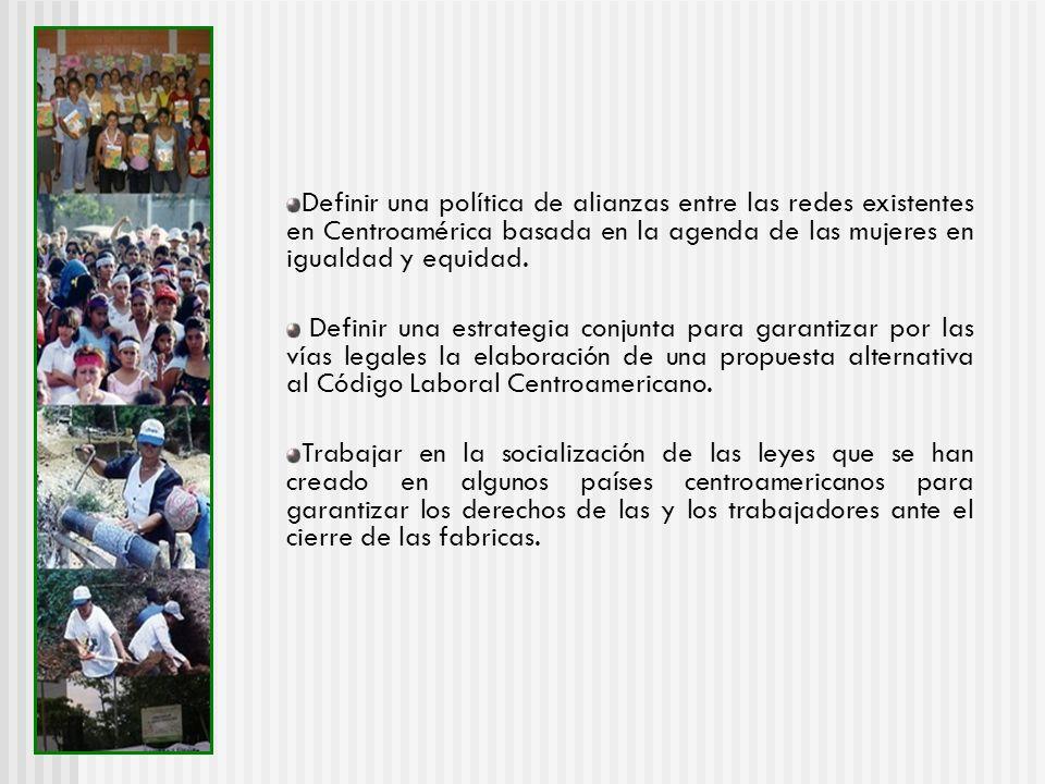 Definir una política de alianzas entre las redes existentes en Centroamérica basada en la agenda de las mujeres en igualdad y equidad.