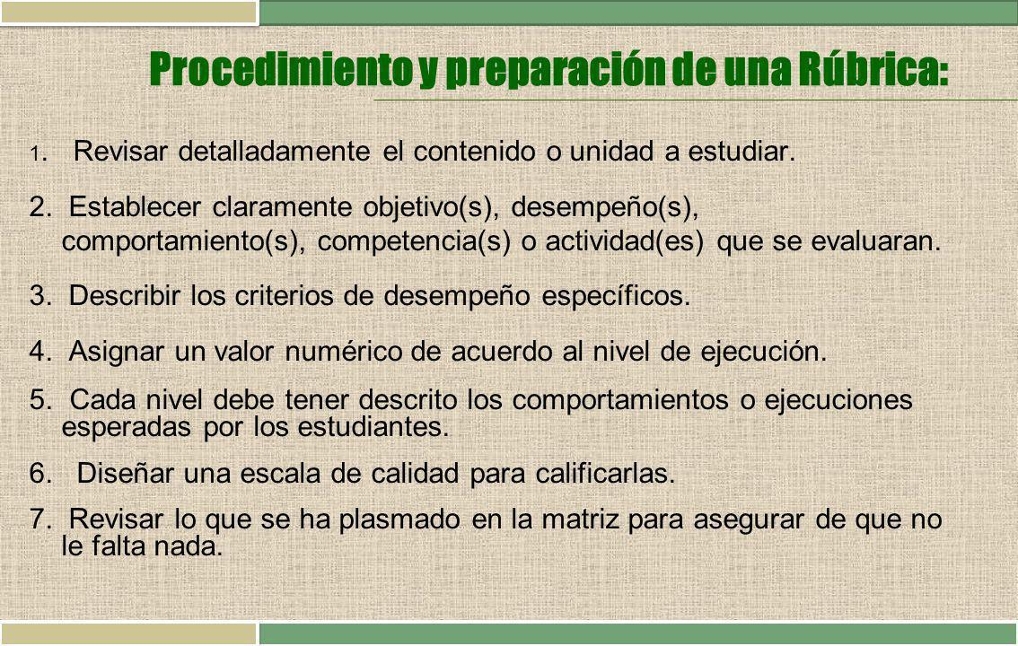 Procedimiento y preparación de una Rúbrica: