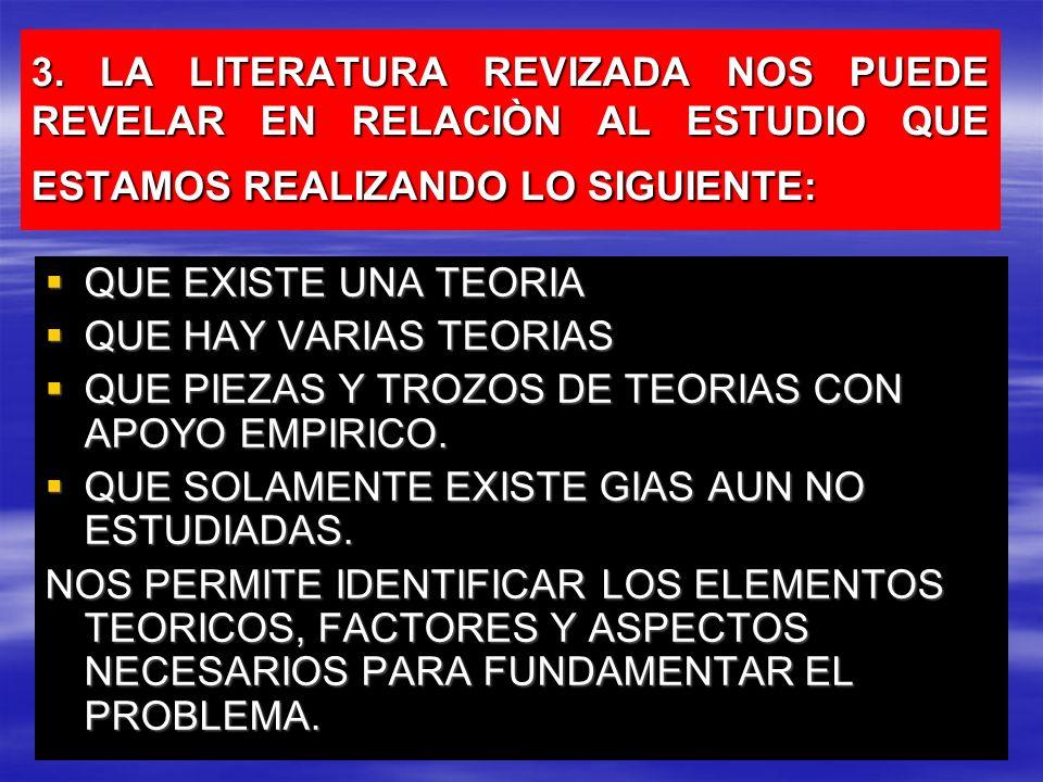 3. LA LITERATURA REVIZADA NOS PUEDE REVELAR EN RELACIÒN AL ESTUDIO QUE ESTAMOS REALIZANDO LO SIGUIENTE: