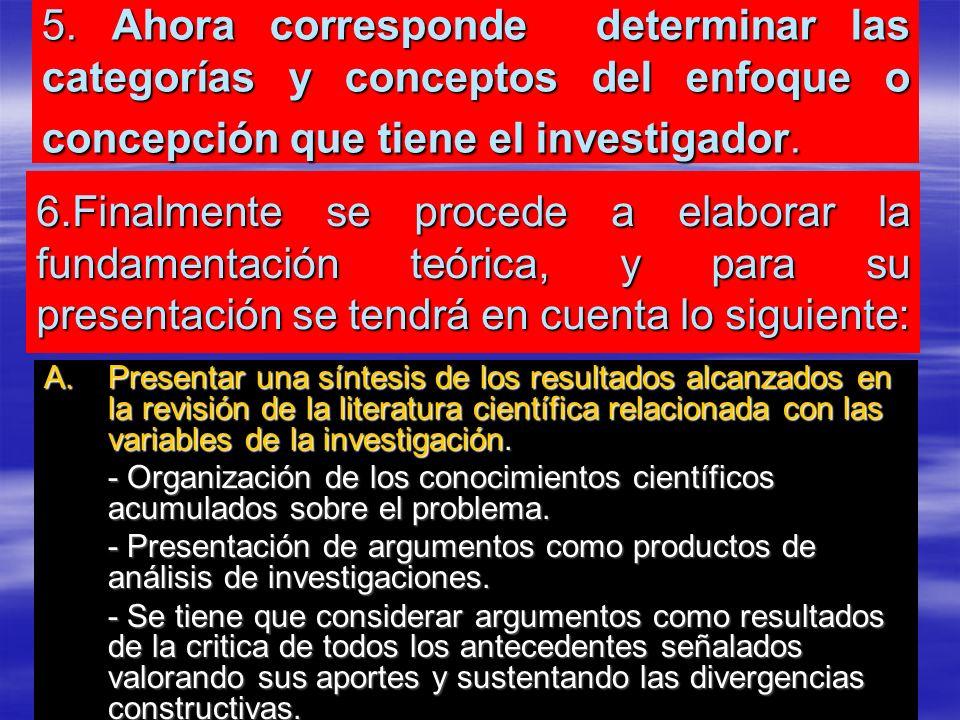 5. Ahora corresponde determinar las categorías y conceptos del enfoque o concepción que tiene el investigador.
