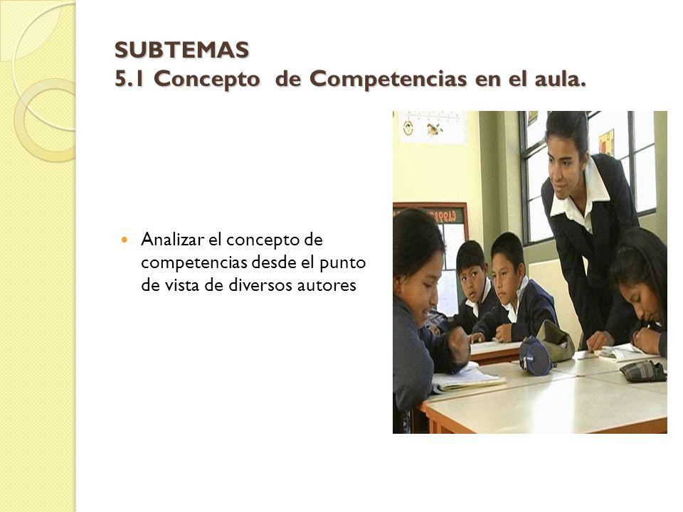 SUBTEMAS 5.1 Concepto de Competencias en el aula.
