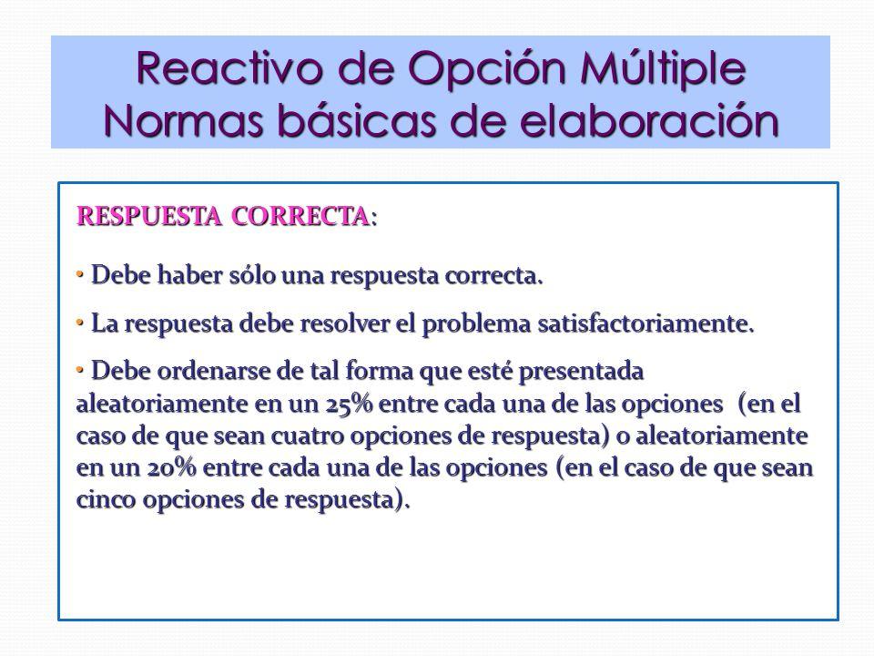 Reactivo de Opción Múltiple Normas básicas de elaboración