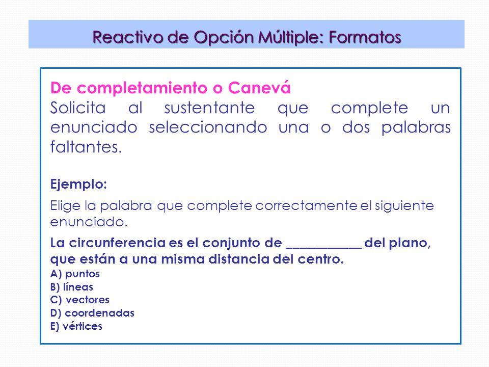 Reactivo de Opción Múltiple: Formatos