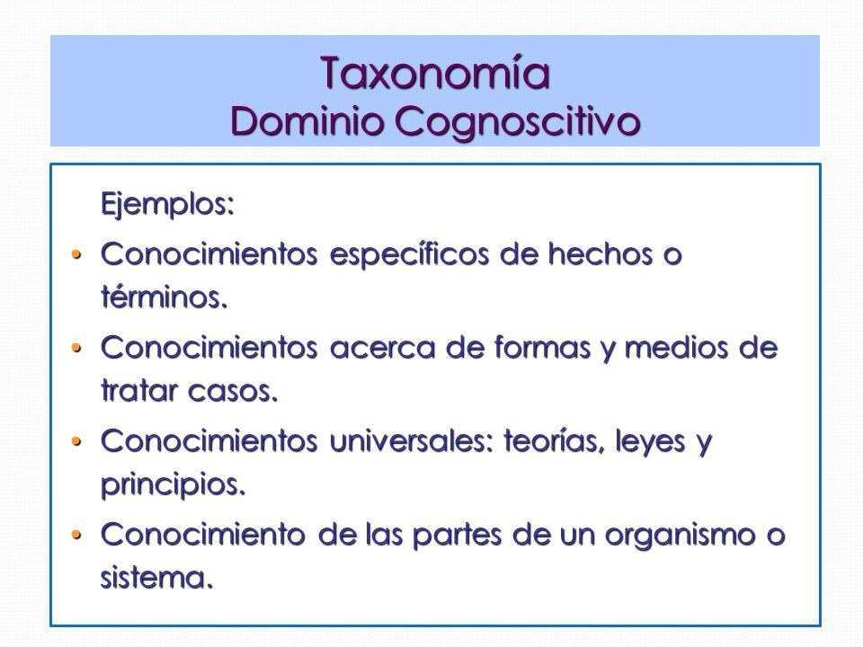 Taxonomía Dominio Cognoscitivo Ejemplos: