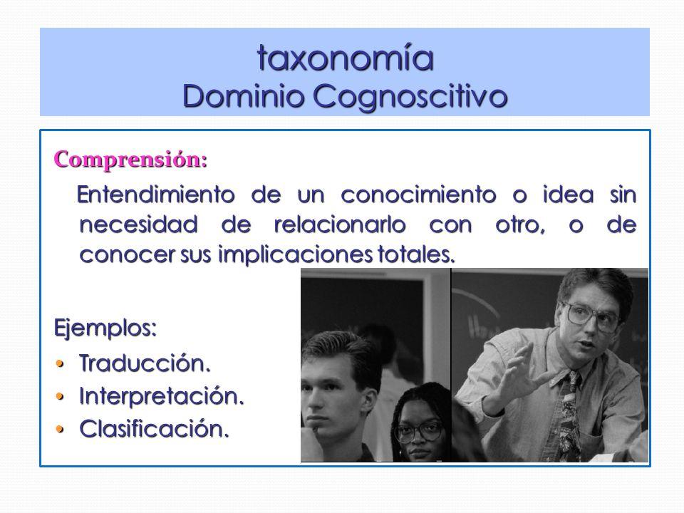 taxonomía Dominio Cognoscitivo Comprensión: