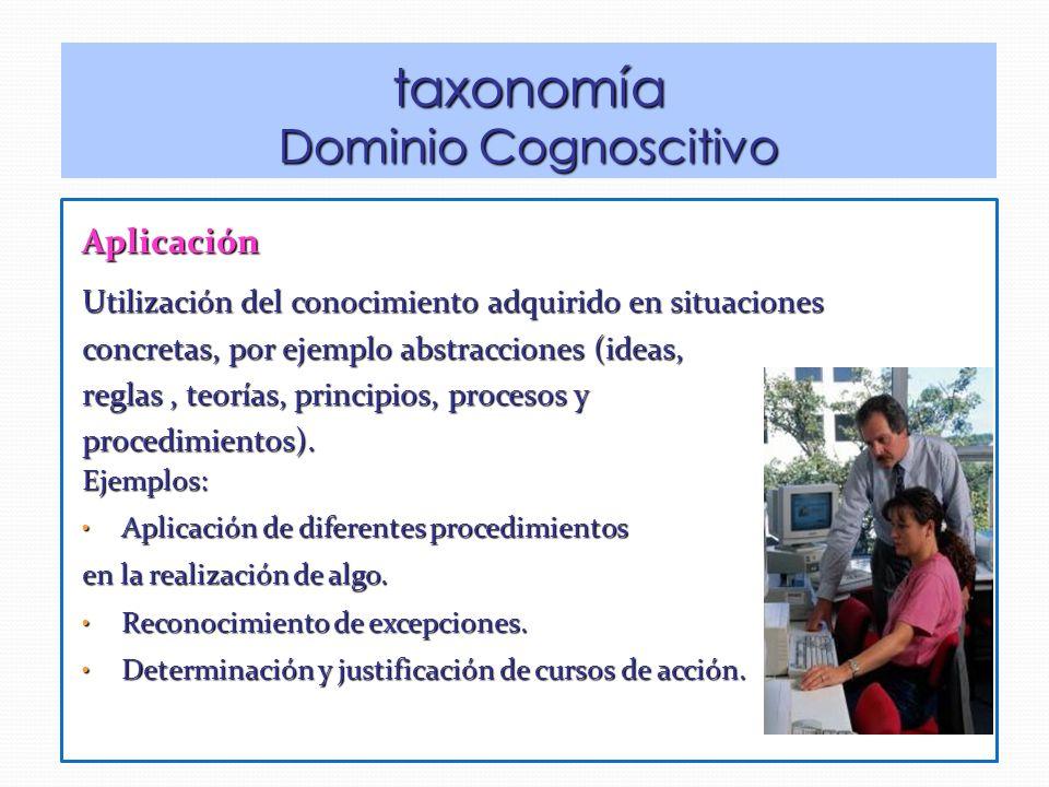taxonomía Dominio Cognoscitivo Aplicación