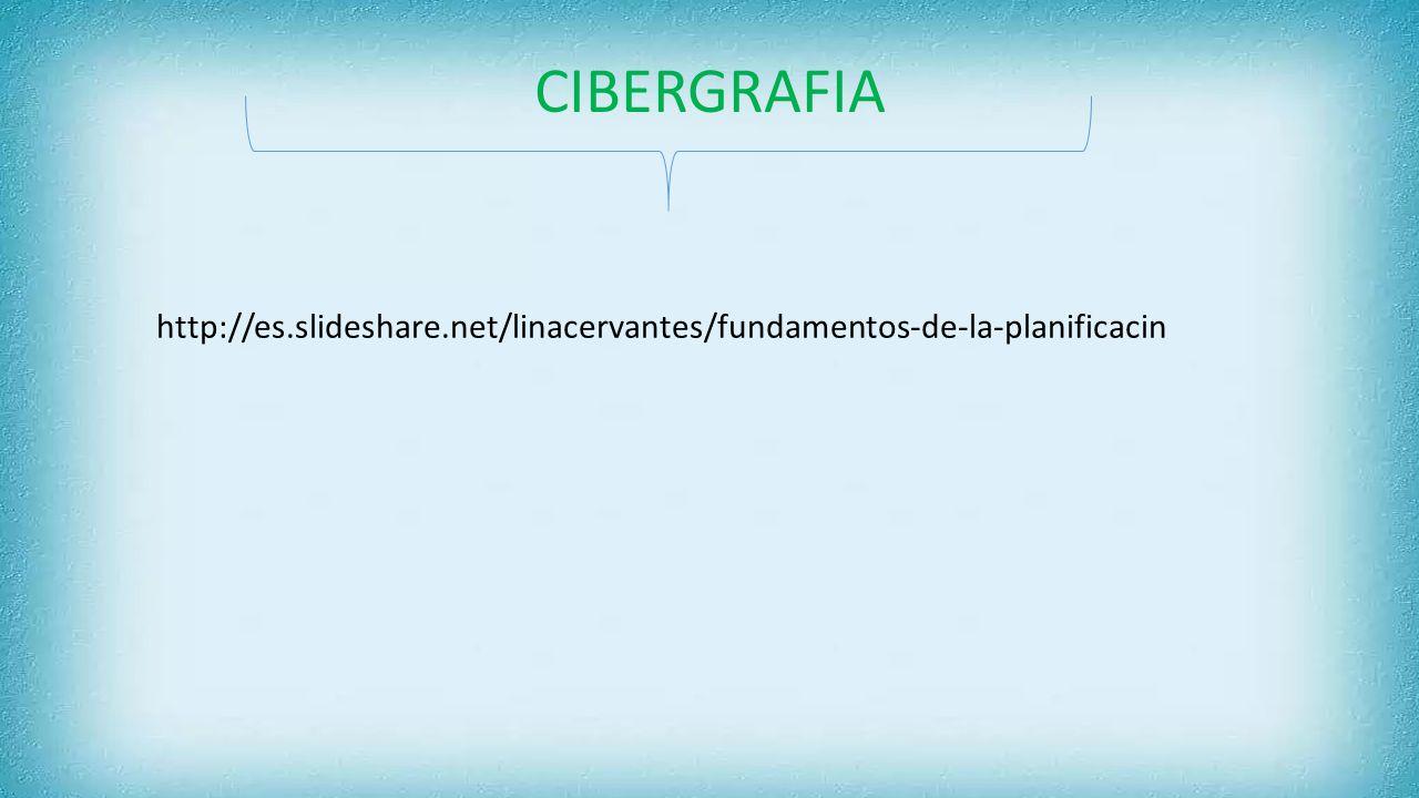 CIBERGRAFIA http://es.slideshare.net/linacervantes/fundamentos-de-la-planificacin