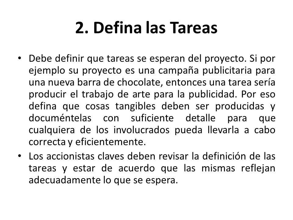 2. Defina las Tareas