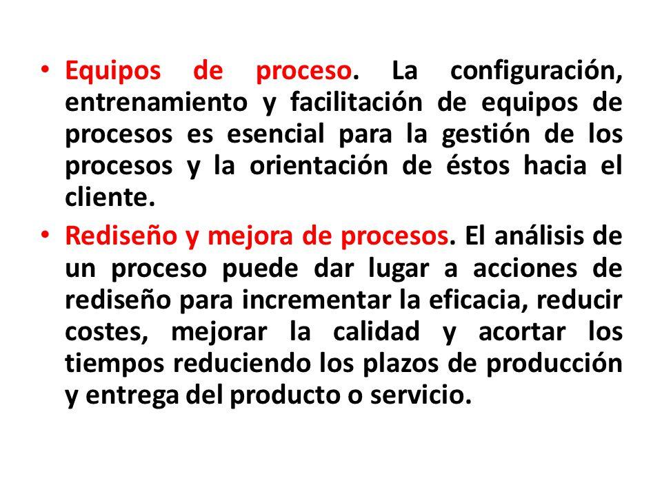 Equipos de proceso. La configuración, entrenamiento y facilitación de equipos de procesos es esencial para la gestión de los procesos y la orientación de éstos hacia el cliente.