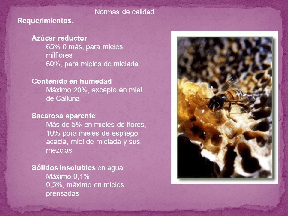 Requerimientos.Azúcar reductor. 65% 0 más, para mieles milflores. 60%, para mieles de mielada. Contenido en humedad.