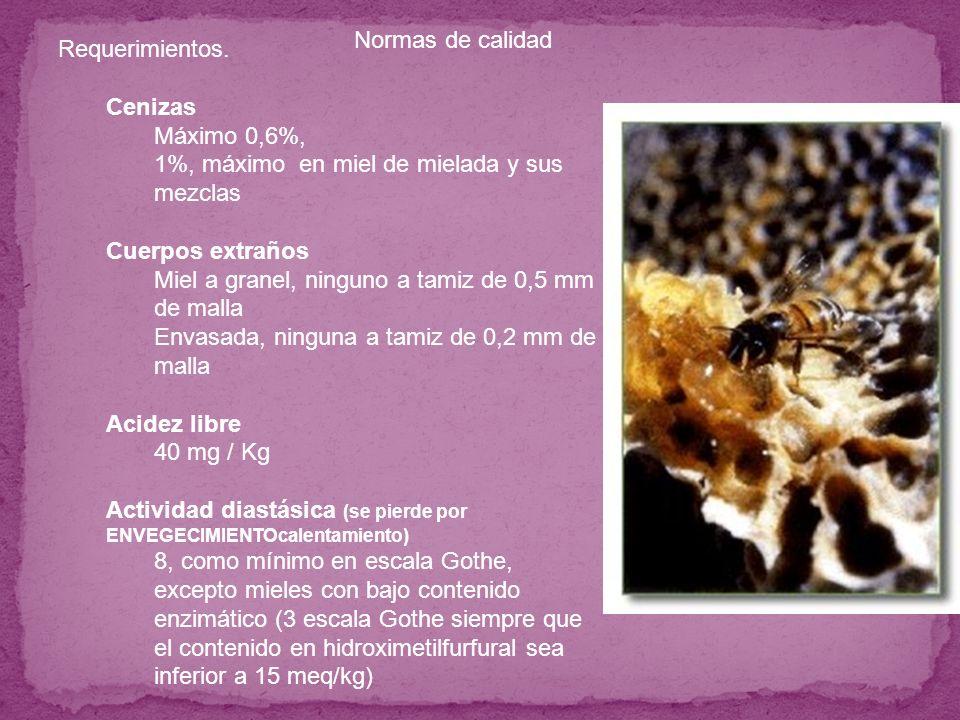 1%, máximo en miel de mielada y sus mezclas