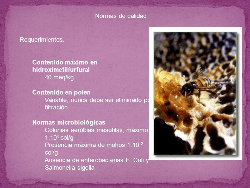 Contenido máximo en hidroximetilfurfural 40 meq/kg Contenido en polen