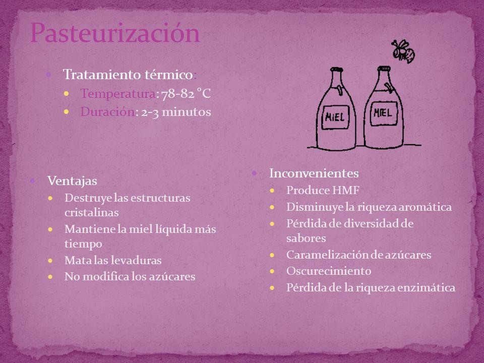 Pasteurización Tratamiento térmico: Temperatura: 78-82 °C