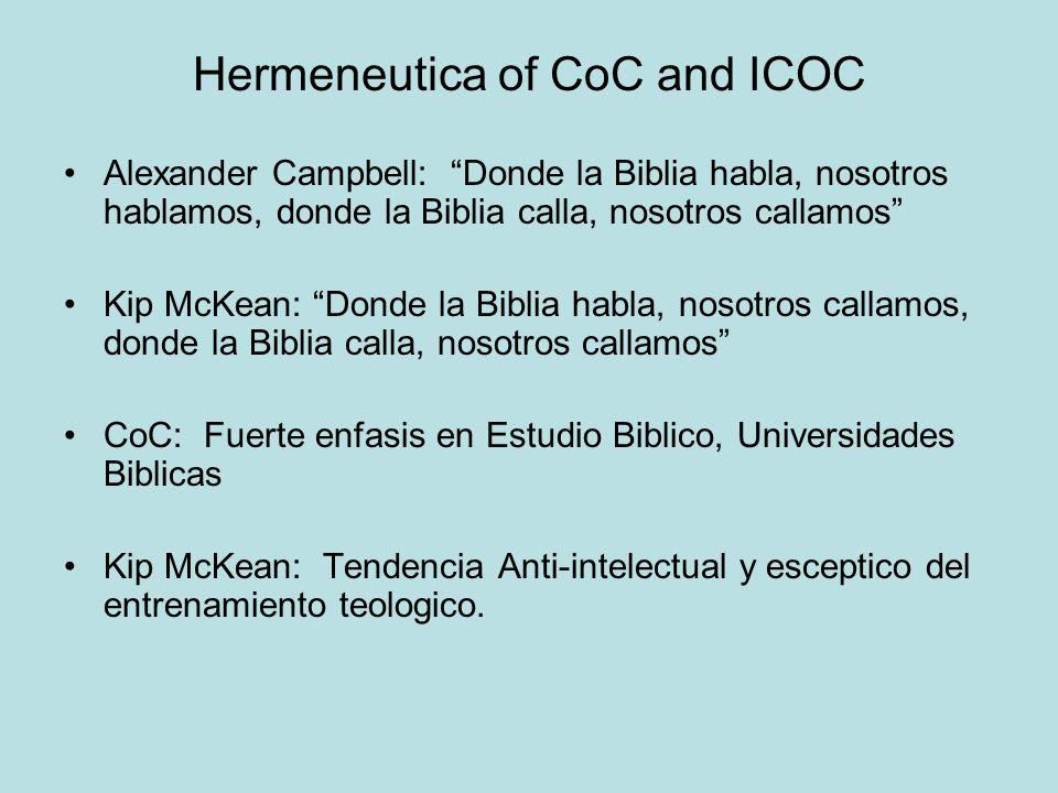 Hermeneutica of CoC and ICOC