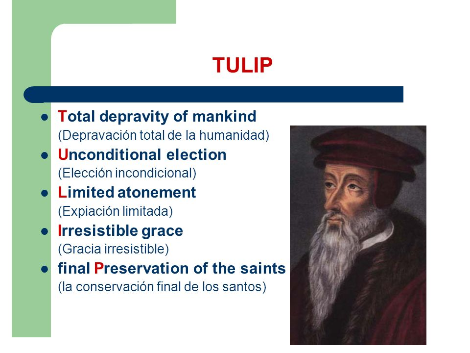 TULIP Total depravity of mankind Unconditional election