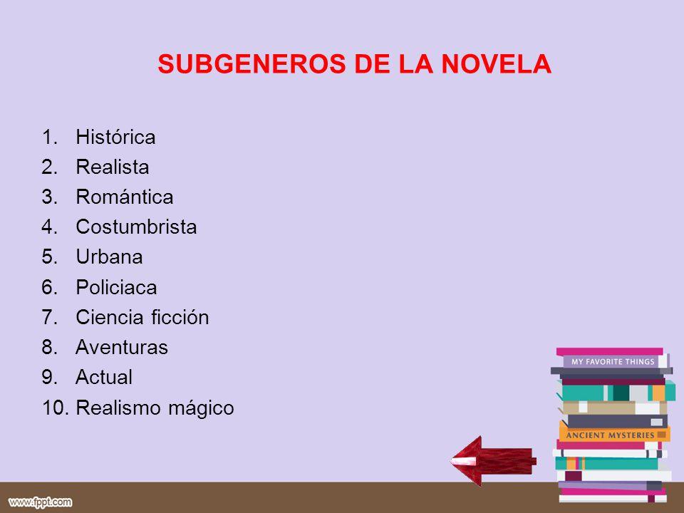 SUBGENEROS DE LA NOVELA