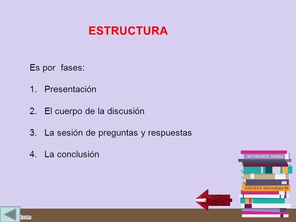 ESTRUCTURA Es por fases: Presentación El cuerpo de la discusión