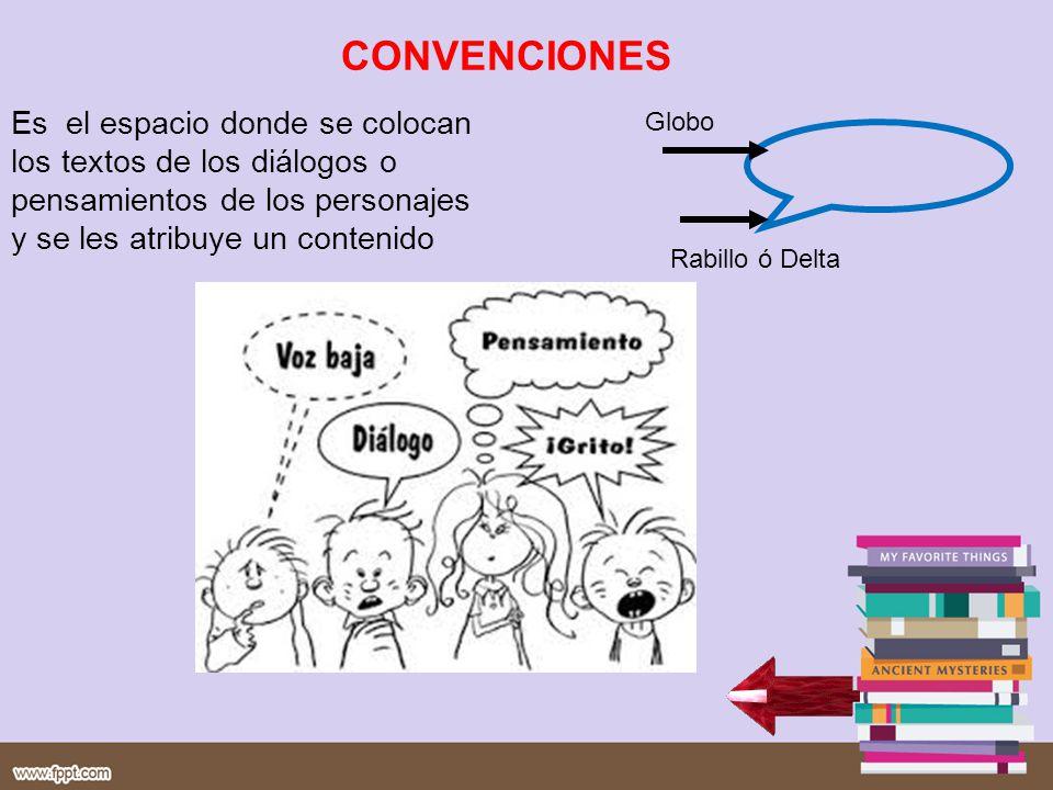 CONVENCIONES Es el espacio donde se colocan los textos de los diálogos o pensamientos de los personajes y se les atribuye un contenido.