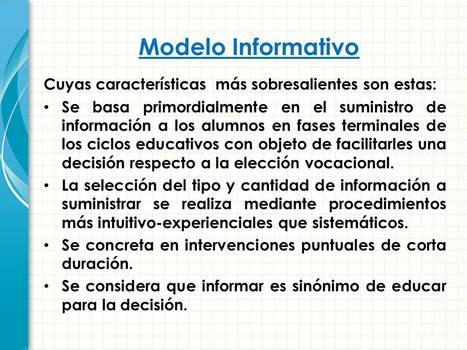 Modelo Informativo Cuyas características más sobresalientes son estas: