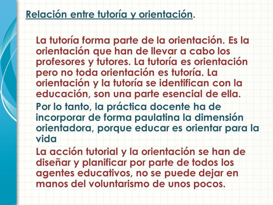 Relación entre tutoría y orientación.