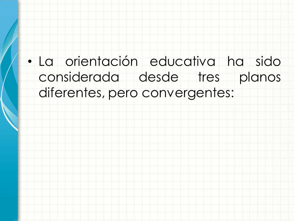 La orientación educativa ha sido considerada desde tres planos diferentes, pero convergentes: