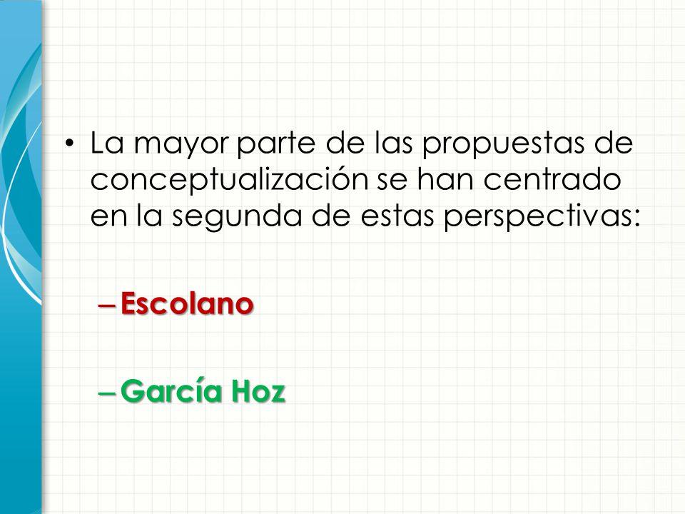 La mayor parte de las propuestas de conceptualización se han centrado en la segunda de estas perspectivas: