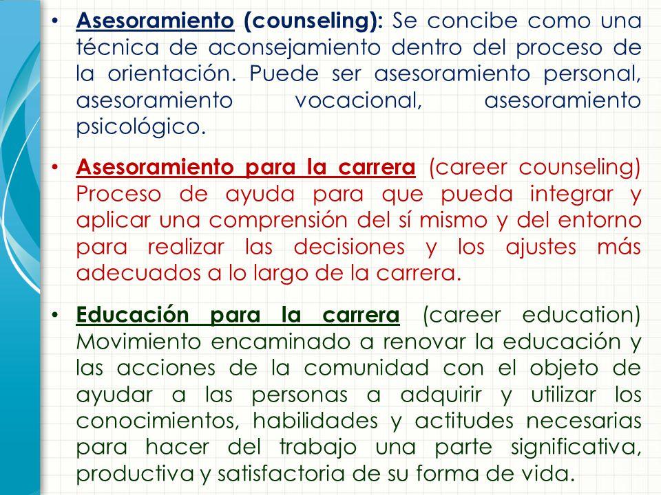 Asesoramiento (counseling): Se concibe como una técnica de aconsejamiento dentro del proceso de la orientación. Puede ser asesoramiento personal, asesoramiento vocacional, asesoramiento psicológico.