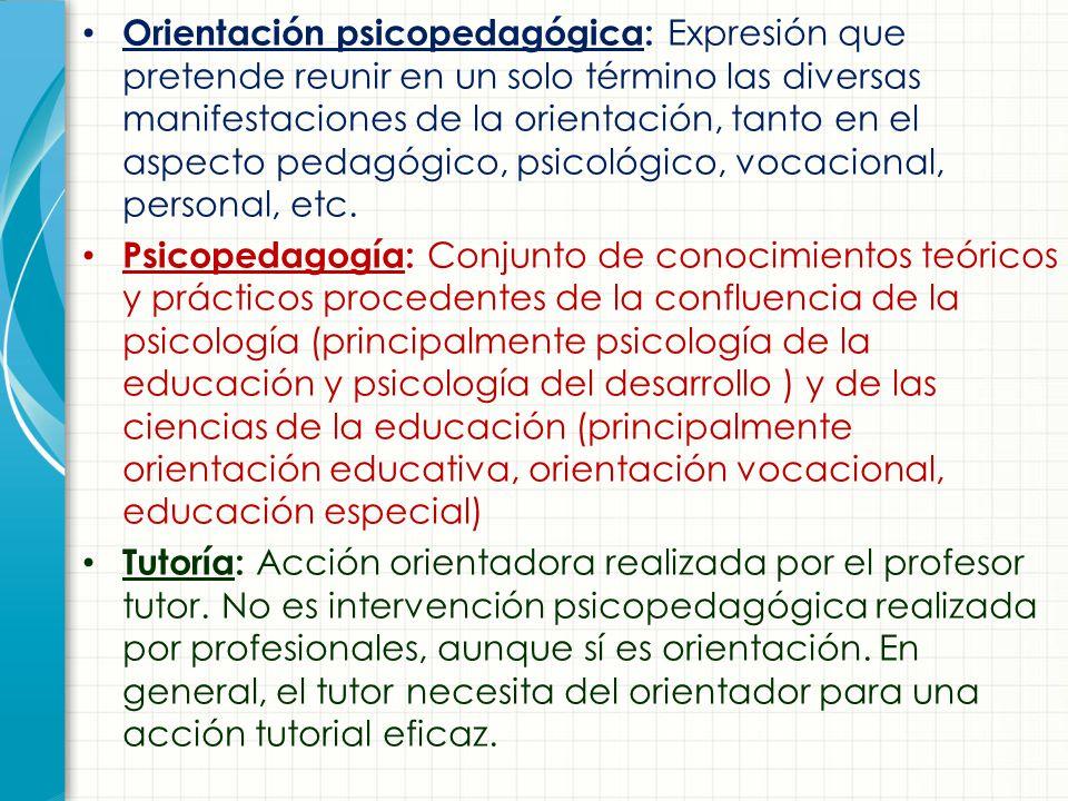 Orientación psicopedagógica: Expresión que pretende reunir en un solo término las diversas manifestaciones de la orientación, tanto en el aspecto pedagógico, psicológico, vocacional, personal, etc.