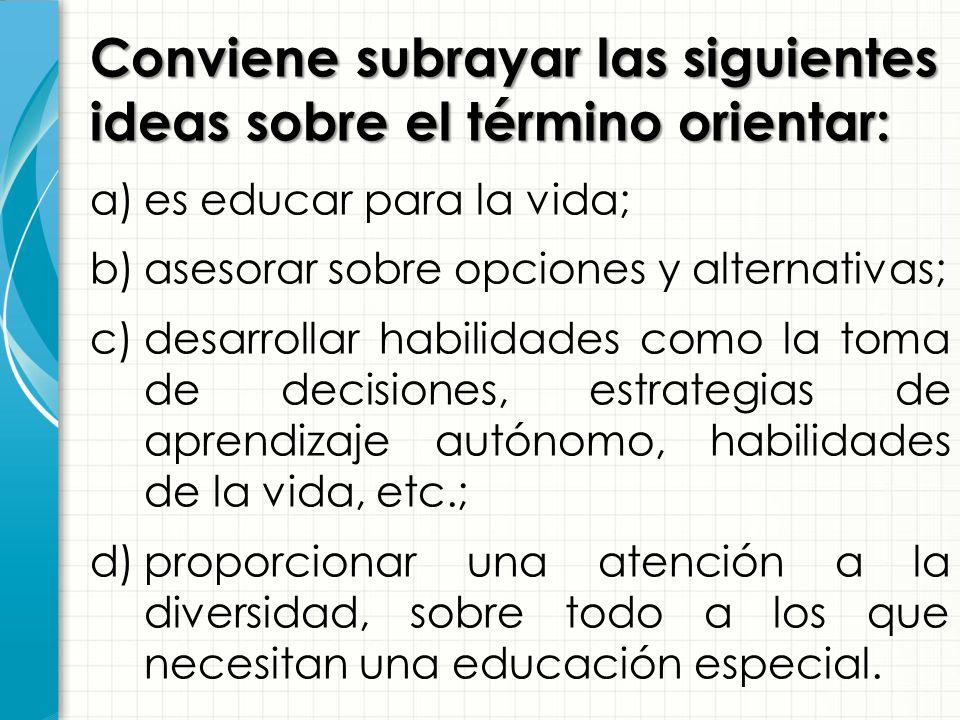 Conviene subrayar las siguientes ideas sobre el término orientar: